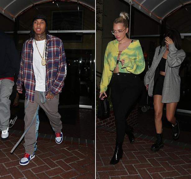 Tyga ra về cùng hai cô bạn của Kylie.
