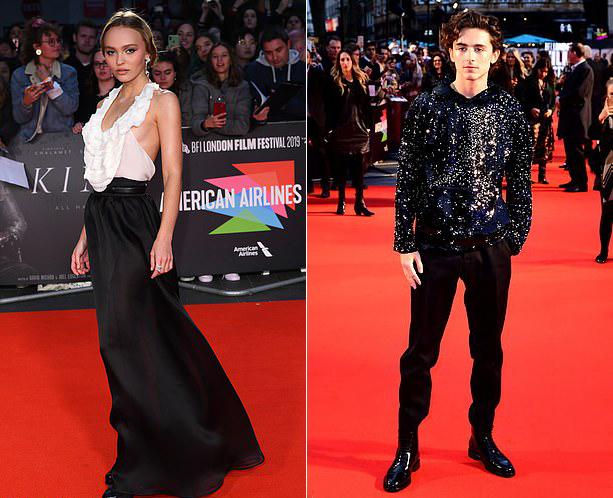 Cặp sao Lily-Rose Depp và Timothee Chalamet cùng tới dự buổi công chiếu phim nhưng tránh đứng cạnh nhau. Đôi uyên ương hẹn hò một năm nay sau khi gặp gỡ ở trường quay phim The King vào năm 2018.