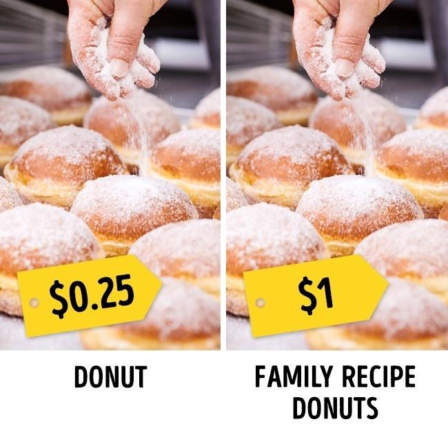 Biến nhà hàng trở thành huyền thoạiCác nhà hàng thường cố gắng tự gắn một huyền thoại nào đó để trở nên nổi bật so với số còn lại. Ví dụ như: một quán cà phê có vị đầu bếp nắm giữ bí quyết làm bánh donut kiểu Ba Lan, quán cà phê khác đơn giản chỉ làm bánh donuts bình thường. Rất nhiều khách đã chọn nhà hàng của vị đầu bếp kia nhưng sau đó họ phát hiện ra hương vị của hai chiếc bánh chẳng khác gì nhau, thậm chí chiếc bình thườngcòn ngon hơn.