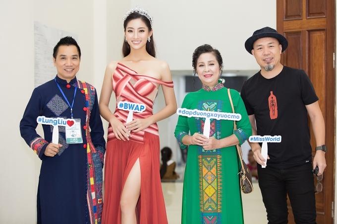 Nhạc sĩ Huy Tuấn (phải) đánh giá cao nỗ lực thực hiện dự án nhân ái của Hoa hậu Thế giới Việt Nam 2019.
