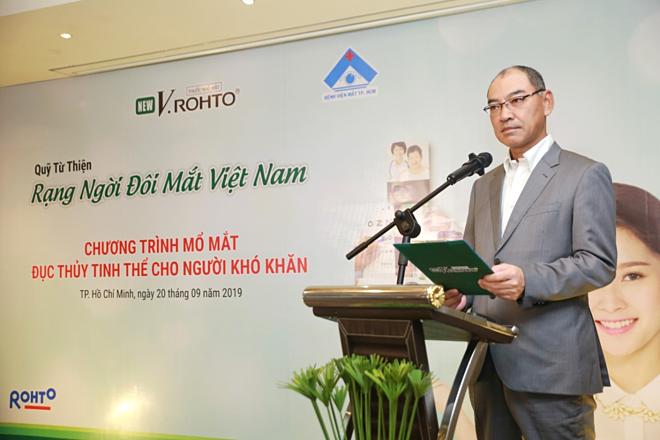 Ông Hirofumi Shiramatsu - Đại diện Rohto Mentholatum Việt Nam tại Lễ ra mắt Quỹ từ thiện V.Rohto – Rạng ngời đôi mắt Việt Nam.
