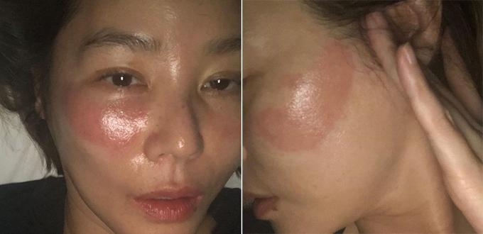 Nữ diễn viên sử dụng mặt nạ mắt sau đó ngủ quên.