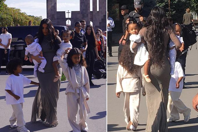 Không có ông xã Kanye West đi cùng, Kim một mình xoay sở với 4 con nhỏ.