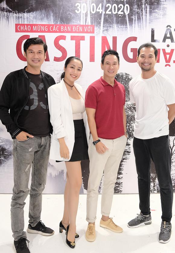 Tiết Cương (ngoài cùng bên trái), Ốc Thanh Vân và Huỳnh Đông tham gia thử vai trong phim mới của Lý Hải.
