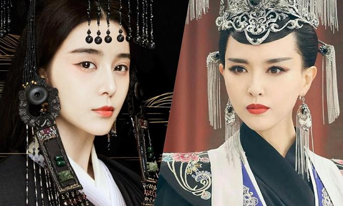 Phạm Băng Băng (trái) trong tạo hình của phim Ba Thanh truyện và Đường Yên - người được cho sẽ đóng thế vai.