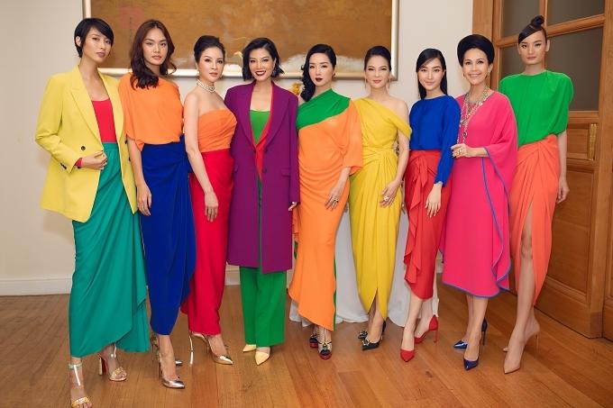 Dàn mỹ nhân cùng diện những thiết kế color block đầy màu sắc của Đỗ Mạnh Cường.