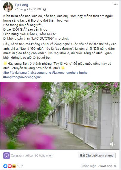 Status và video của Tự Long đăng trên Facebook.