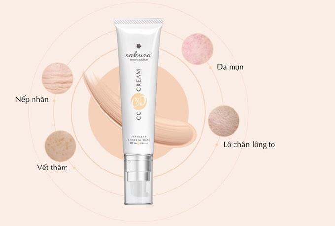 Sakura CC Cream Flawless Control Base có khả năng che khuyết điểm, thay thế kem chống nắng.
