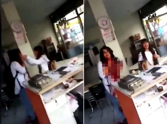 Emine Bulut bị chồng đâm trước mặt con gái tại tiệm cà phê ở thành phố Kirikkale, Thổ Nhĩ Kỳ hồi tháng 8. Ảnh: Twitter.