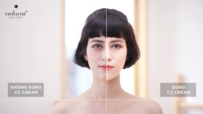 So sánh nửa khuôn mặt không dùng CC Cream và có dùng.