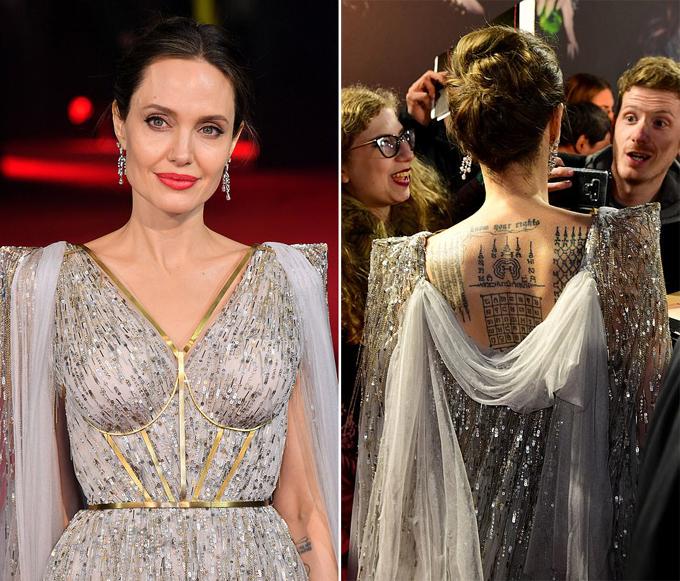 Angelina Jolie quyến rũ với đầm ren và khuyên tai kim cương.