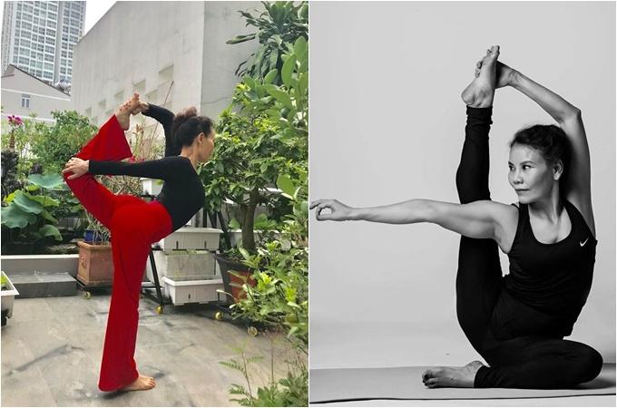 Bà Ngọc Hương dẻo dai nhờ chăm tập yoga mỗi ngày.