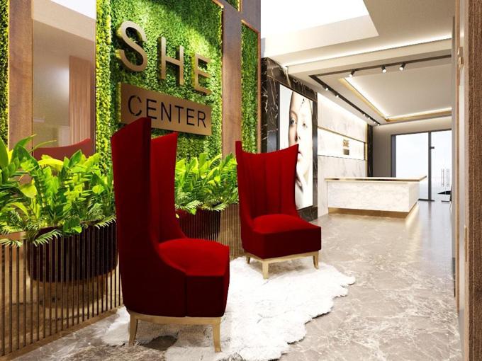 SHE Center bố trí khoảng không gian xanh giúp tạo cảm giác thư thái cho khách hàng tới làm đẹp.