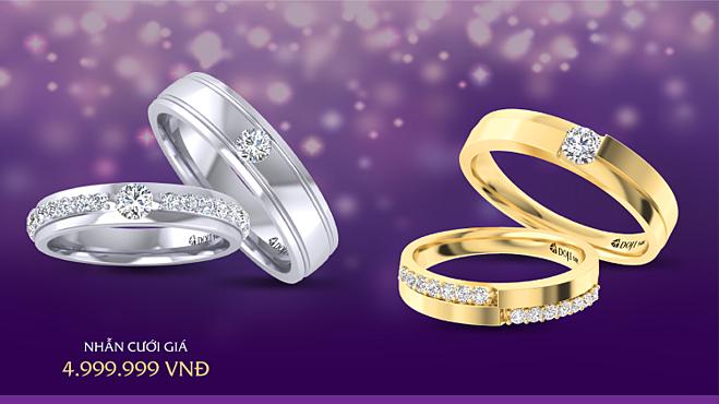 Tổ chức sự kiện trùng mùa cưới 2019, DOJI dành tặng các cặp đôi 100 cặp nhẫn cưới được thiết kế theo xu hướng trang sức mới nhất với giá 4.999.999 đồng, áp dụng duy nhất ngày 19/10. DOJI cũng tung ưu đãi 20% cho dòng trang sức cưới Wedding Land.