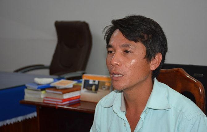 Huỳnh Văn Công tại cơ quan điều tra. Ảnh:Quốc Huy.