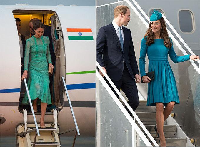 Kate mặc váy áo sang trọng khi xuống máy bay trong các chuyến công du cùng Hoàng tử William. Ảnh: UK Press.