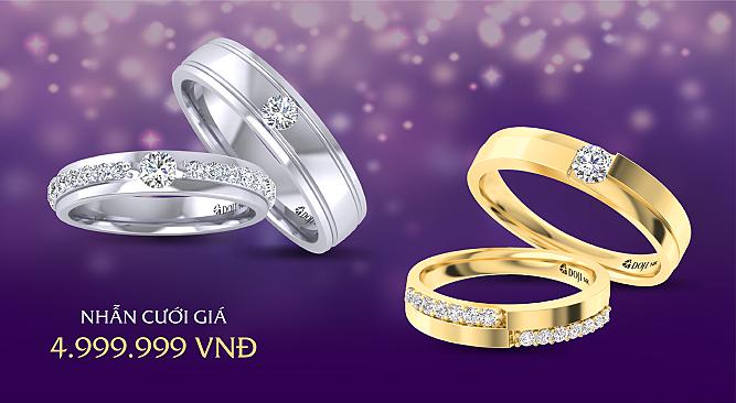 DOJI khuyến mại 100 cặp nhẫn cưới giá 4.999.999 đồng - 1