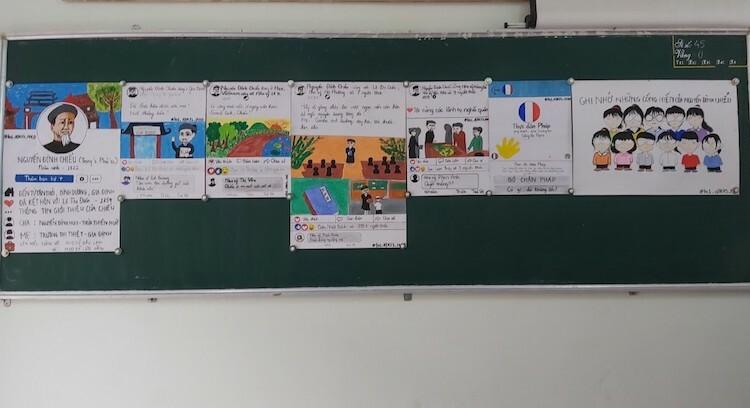 Thứ tự 7 bức tranh được các em đính lên bảng để thuyết trình. Ảnh: Anh Thư.