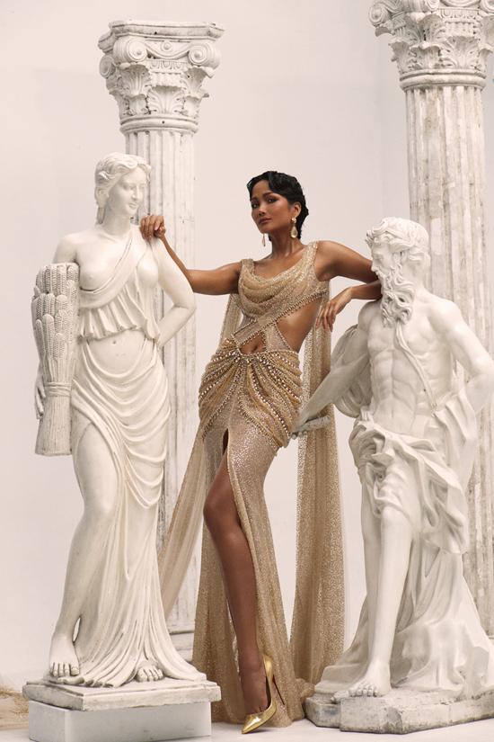 HHen Niê làm nữ thần trong thiết kế của Linh San