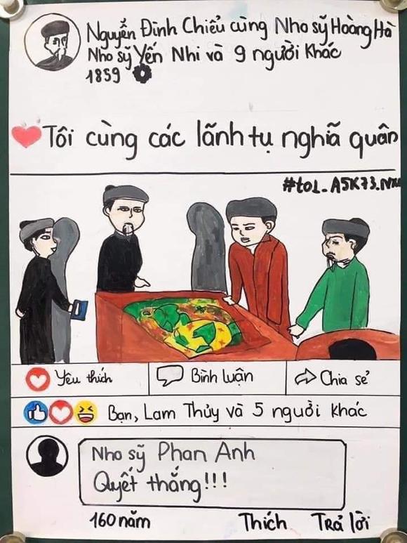Nhóm học sinh lớp 11 vẽ Facebook Nguyễn Đình Chiểu - 3