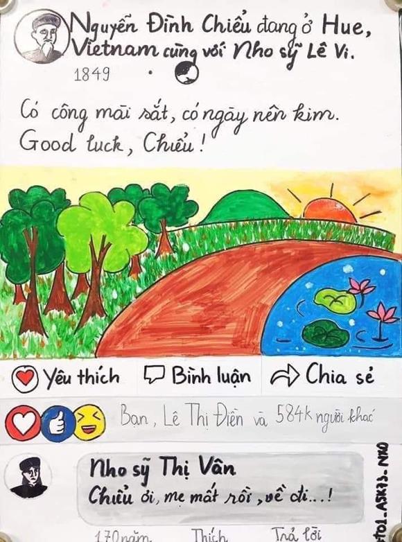Nhóm học sinh lớp 11 vẽ Facebook Nguyễn Đình Chiểu - 5