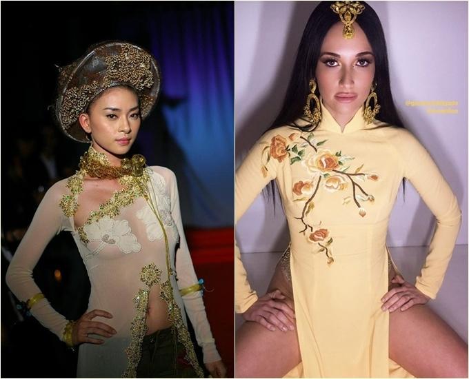 Ngô Thanh Vân khẳng định trang phục cô mặc không phải áo dài (trái) và ca sĩKacey Musgraves (phải).