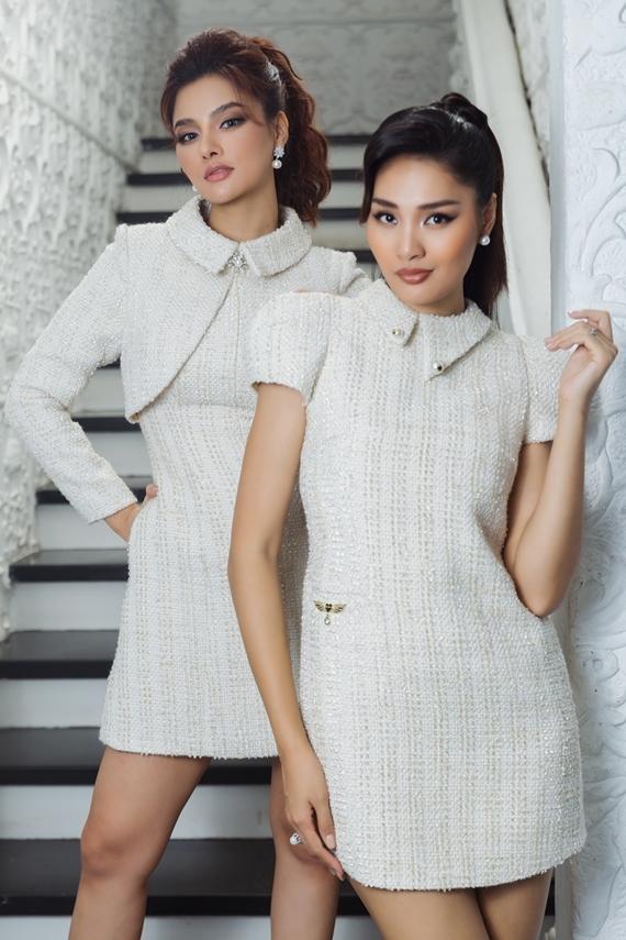 Hương Giang (phải) và Vũ Thu Phương gợi ý trang phục thanh lịch, phù hợp môi trường công sở.