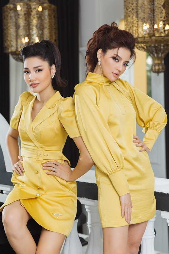 Hương Giang chọn bộ váy giả vest, còn Vũ Thu Phương ghi điểm với thiết kế cổ lọ.