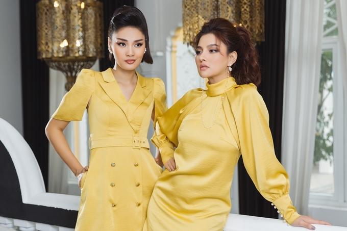 Gam màu vàng rực rỡ được khai thác trên nền vải lụa, mang đến vẻ ngoài sang trọng cho người diện.