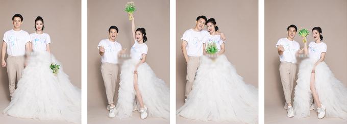 Bên cạnh những trang phục cưới truyền thống, đôi trẻ còn phá cách khi chụp ảnh với áo phông đôi in chữ Groom – Bride (dịch: chú rể - cô dâu) trẻ trung.