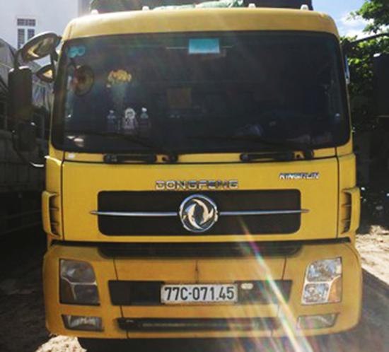 Chiếc xe tải bị tạm giữ. Ảnh:Công an cung cấp.