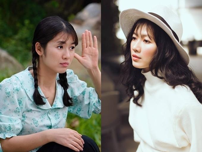 Oanh Kiều trong vai Phượng (trái) và ngoài đời.