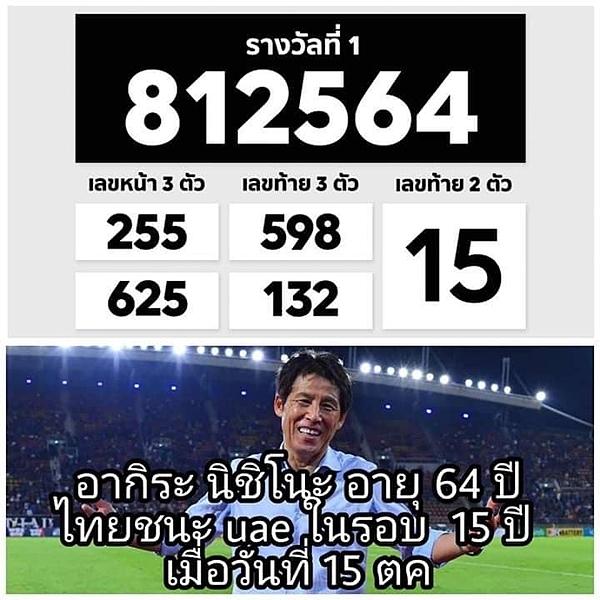 Kết quả xổ số ở Thái Lan ngày 16/10 có hai con số liên quan đến HLV Nishino.