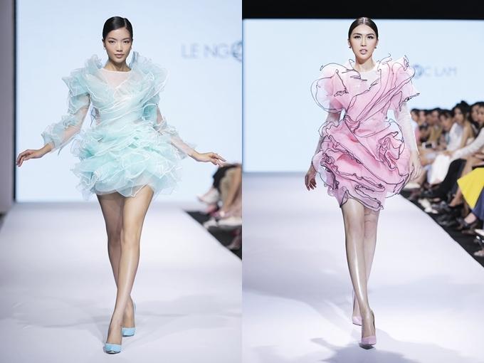 Ngoài sắc trắng - đen chủ đạo, Lê Ngọc Lâm còn mang đến những gam màu pastel ngọt ngào.