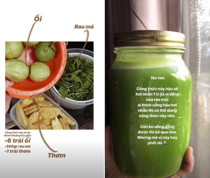 Yến Trang chia sẻ công thức làm sinh tố rau củ cho bữa sáng lành mạnh.