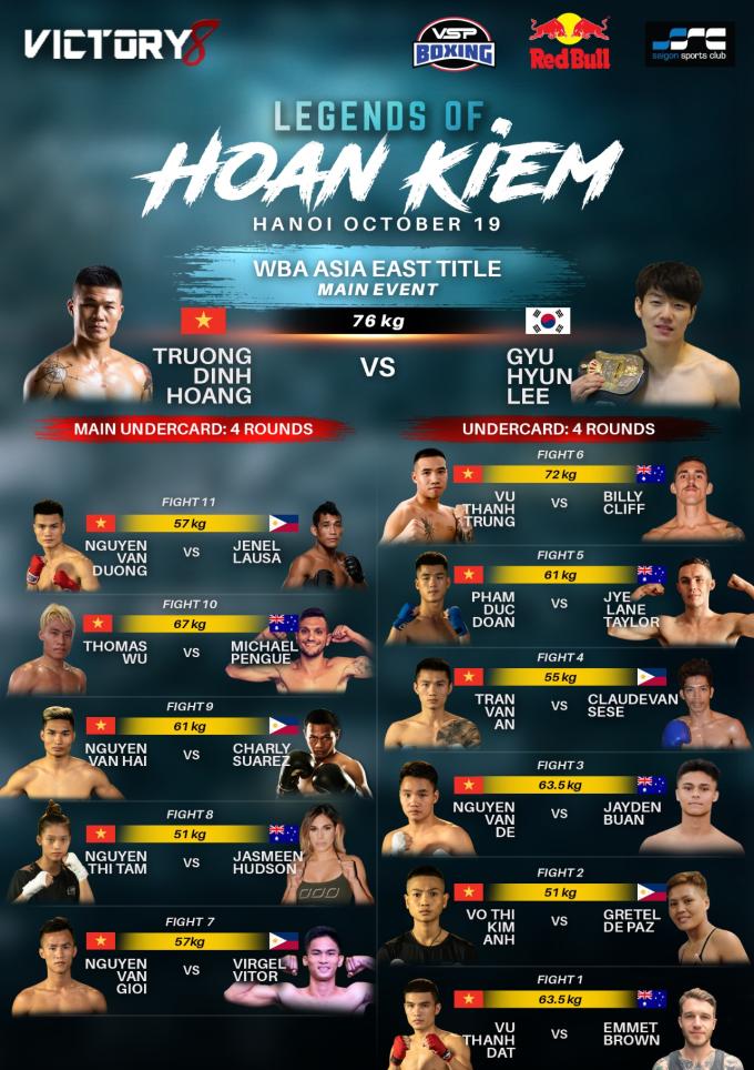 Những vận động viên tham gia giải boxing Victory 8: Huyền Thoại Hoàn Kiếm tại Hà Nội.
