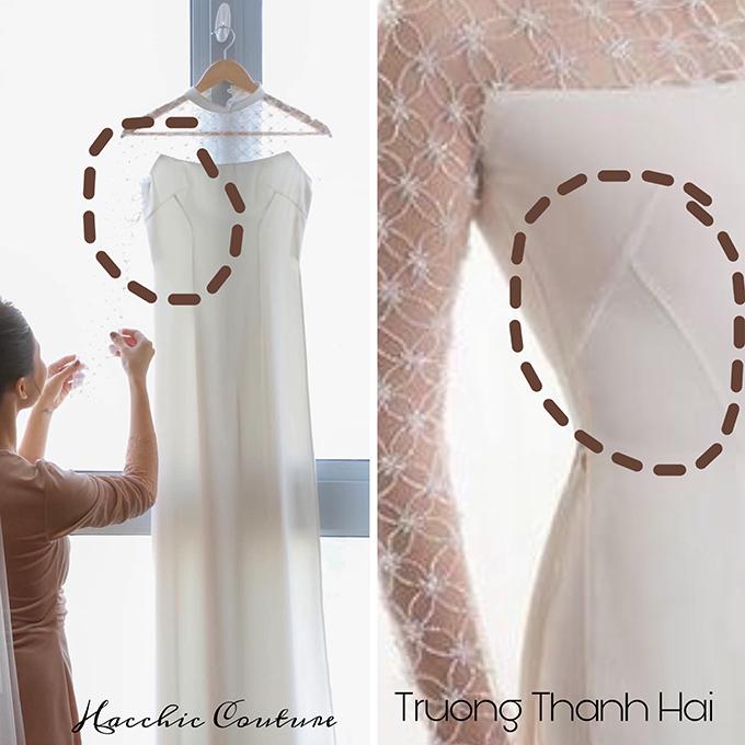Cách chiết eo của hai áo dài, có sự khác biệt từ điểm chiết eo, áo của Giang Hồng Ngọc diện được chiết bắt đầu từ ngực, còn áo do Trương Thanh Hải thiết kế chiết từ eo.