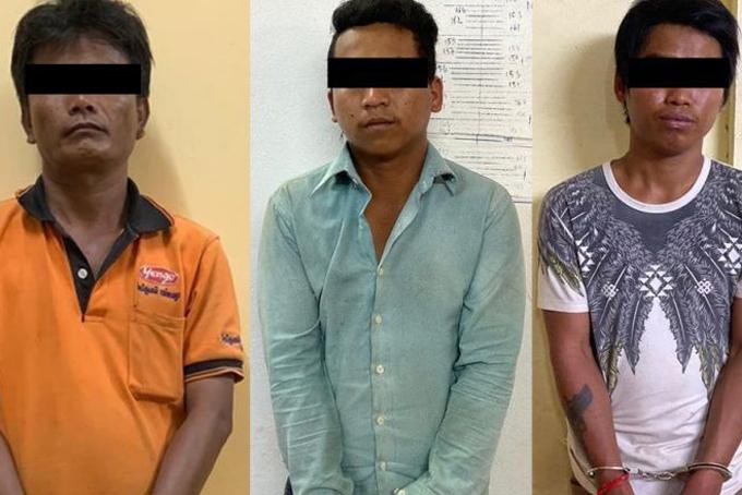 Ba nghi phạm tại sở Cảnh sát tỉnh Kampot. Ảnh: Phnompenh Post.