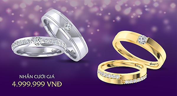 Tại Tuần lễ Trang sức DOJI 2019, từ nay tới ngày 20/10, DOJI tung ra 100 nhẫn cưới kim cương giá 4,999 triệu đồng và mức ưu đãi 20% trang sức cưới.