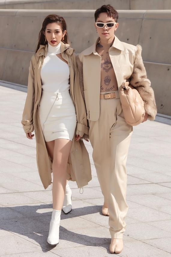 Khổng Tú Quỳnh diện đồ ton-sur-ton với Kelbin Lei. Tất cả trang phục đều do nam stylist lên ý tưởng và thực hiện.