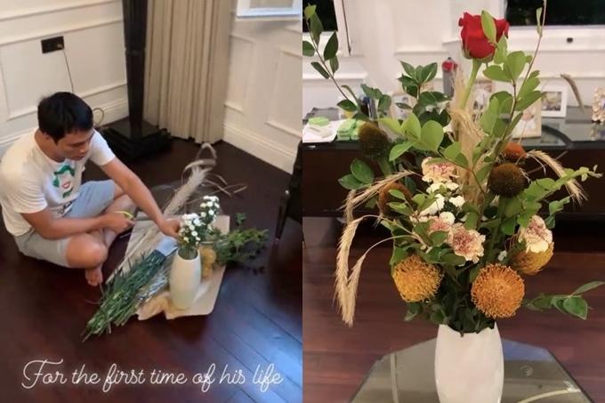 Thúy Diễm hạnh phúc bên bó hoa Lương Thế Thành gửi tặng. Nữ diễn viên tiết lộ đây là 20/10 đầu tiên nhận quà từ ông xã.