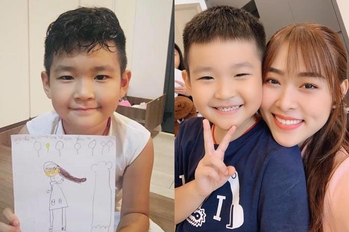 Diệp Bảo Ngọc khoe bức tranh con trai tự vẽ tặng mẹ. Bé Kid là con trai của người đẹp và chồng cũ là diễn viên Thành Đạt. Hiện nữ diễn viên vẫn lẻ bóng, vừa hoạt động nghệ thuật, vừa kinh doanh online.