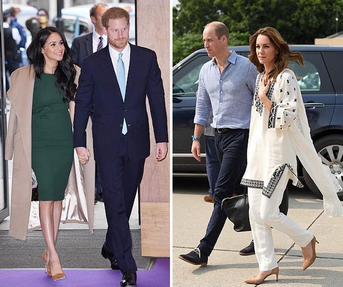 Vợ chồng Harry - Meghan dự lễ trao giải vì trẻ em ở London hồi giữa tháng 10 (ảnh trái) và vợ chồng William - Kate đi công du Pakistan trong cùng khoảng thời gian. Ảnh: UK Press.