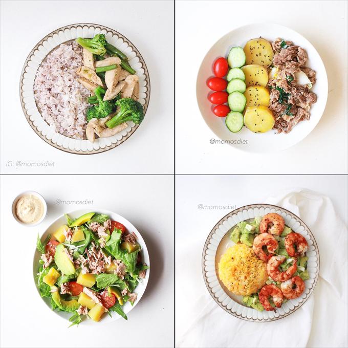 Hồng Phúc thường bày đồ ăn ra đĩa to vàáp dụng mẹo chia tỷ lệ các nhóm dinh dưỡng như sau: 1/4 tinh bột (từ cơm, gạo lứt, khoai lang...), 1/4 protein (từ hải sản, ức gà,...)và 1/2 là chất xơ.