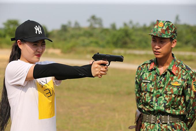 Thanh Hương trên thao trường.