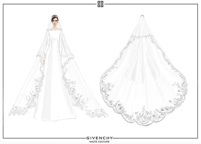 Meghan đã mất nhiều thời gian tham khảo về háng tá váy cưới trên Instagram, Pinterest, các tạp chí thời trang và biết mình muốn bộ váy hiện đại, trang nhã, mang vẻ đẹp vượt thời gian, phù hợp với hoàng tộc. Sau đó, Meghan tìm đến nhà mốt Givenchy và ngay lập tức mê đắm bản phác thảo, ý tưởng váy cưới từ NTK của thương hiệu - chị Clare Waight Keller, người Anh. NTK đã liên hệ các nhà máy sản xuất vải khắp châu Âu để làm ra thước vải lụa trắng tinh khôi độc quyền mà cô dâu yêu cầu. Mẫu váy được làm thủ công hoàn hảo, chỉ với sáu đường may nổi kéo dài về phía đuôi váy và ngược lại.