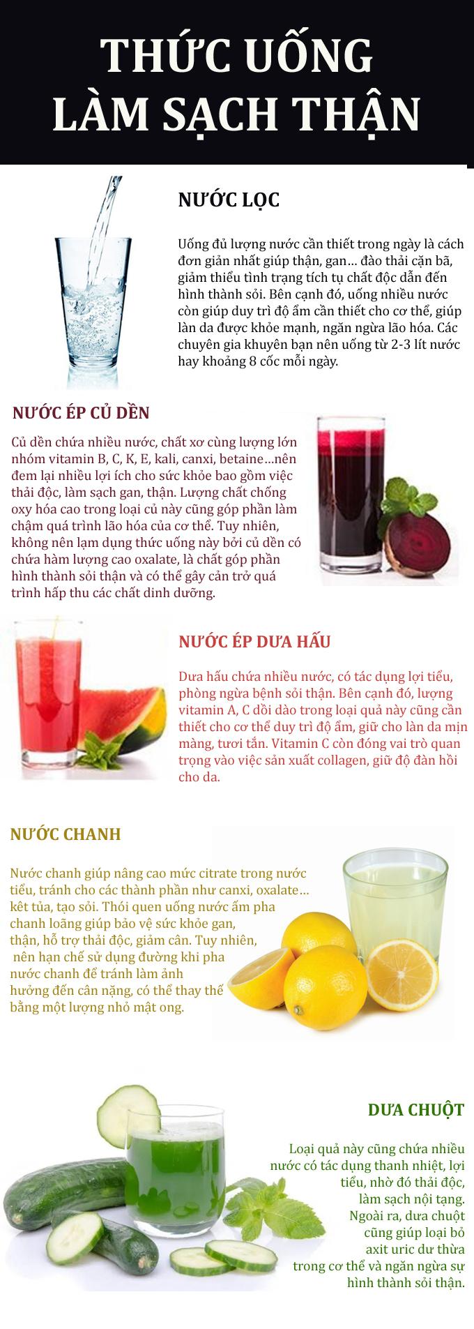 5 thức uống vừa đẹp da lại ngừa sỏi thận
