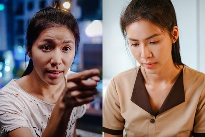 Minh Tú đóng vai Lá (trái) và Mây.