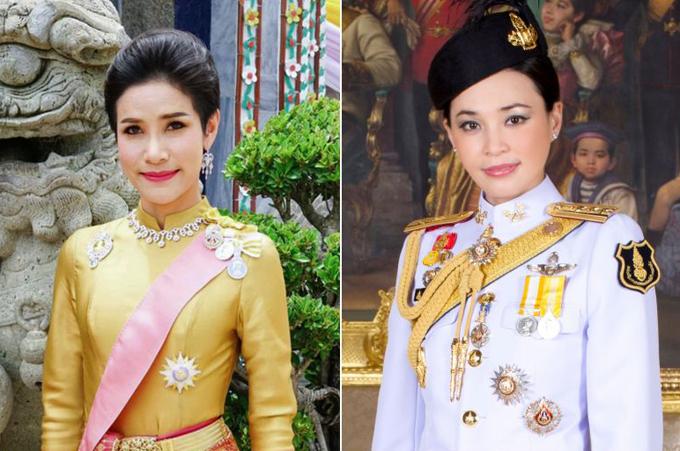 Hoàng quý phi Sineenat (trái) và Hoàng hậu Suthida (phải). Ảnh: Bangkokpost.