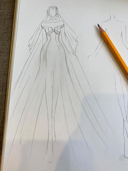 Do đó, cả hai thống nhất ý tưởng về mẫu váy giúp Văn Mai Hương khoe khéo vai trần gợi cảm, có điểm nhấn là nơ, mang xu hướng tối giản.